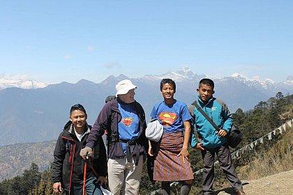 Prakash, David, Tek and Dawa hiking to Jele dzong in Paro