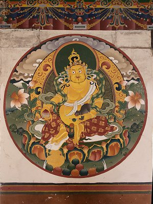 Mural painting of guardian god in Dagana Dzong