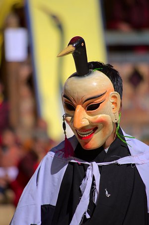 Masked dancer during Black Neck Crane festival, Gangtey