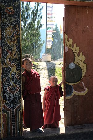 Small monks in Gasa dzong