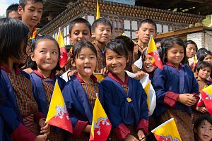 Children with Bhutanese flags