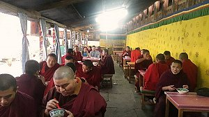 Tango monastery, dining with monks