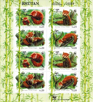 Red Panda Bhutanese Stamps