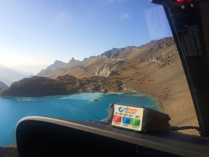 Flying above mountain lake