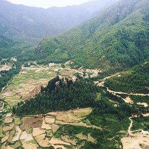 Flying over Drukyel Dzong