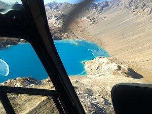 Flying over Mountain lake
