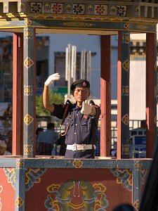 Policeman giving singal in Thimphu