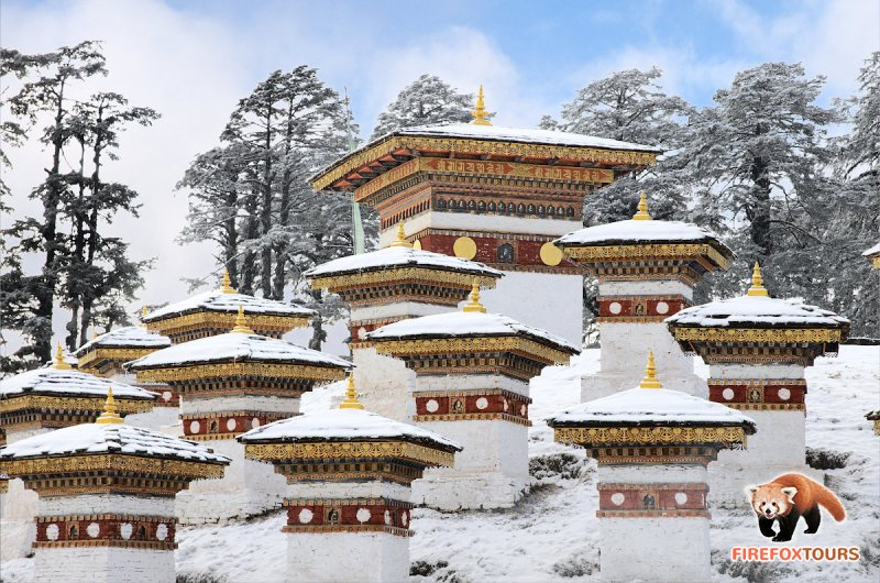 Dochu-la pass with snow