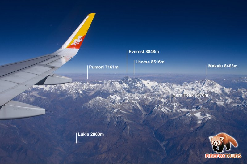 View if Everest region from Paro to Kathmandu flight