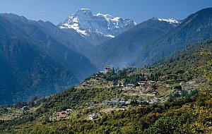 Gasa dzong and Kang Bum peak
