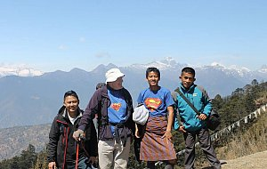 Prakash, David, Tek and Dawa hiking to Jele dzong in Paro