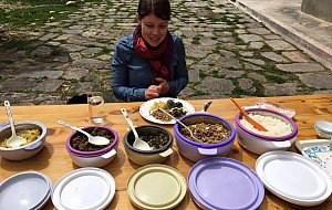 Jenn having picnic lunch