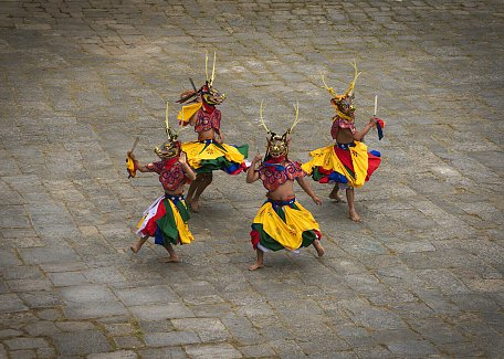 Masked dances during Paro Tsechu festival