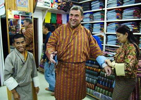 Trying Bhutan dress