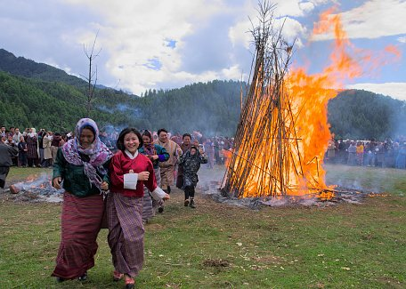 Fire blessing ceremony at Thangbi Mani (Mewang)
