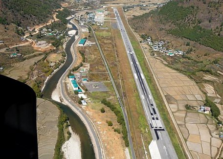 Flying above Paro Airport